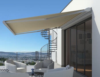Jointed arm awnings