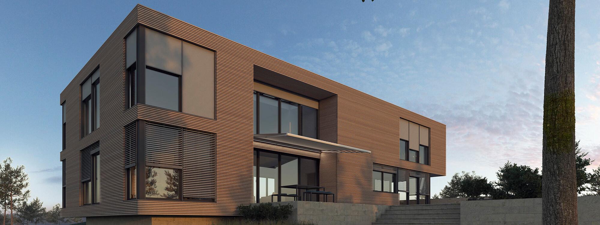 Modernes Haus mit WOUNDWO Sonnenschutzprodukten